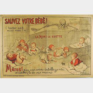 A. Dick Dumas Sauvez Votre Bébé!   French WWI Lithograph Poster