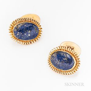 Pair of 14kt Gold and Lapis Lazuli Cuff Links