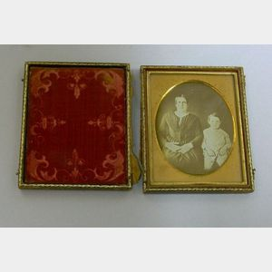 Daguerreotype Double Portrait of Mother and Young Son