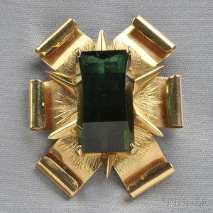 18kt Gold and Green Tourmaline Brooch