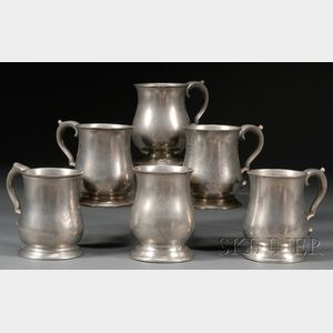 Six Pewter Pint Mugs