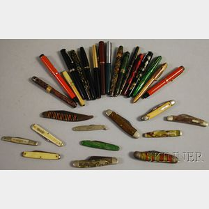 Seventeen Vintage Fountain Pens and Writing Instruments and Twelve Pocketknives.