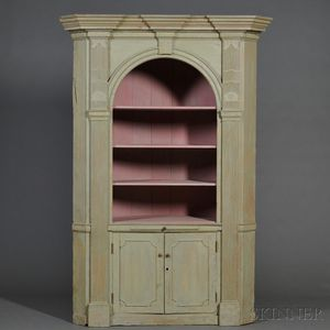 Large Federal Light Green-painted Corner Cupboard