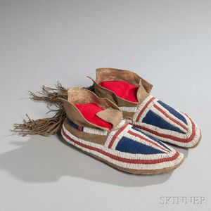 Pair of Southern Plains Beaded Buffalo Hide Moccasins