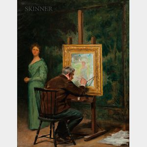 Isaac Henry Caliga (American, 1857-1934)      The Artist at Work