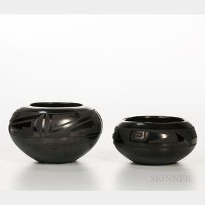 Two San Ildefonso Black-on-black Vessels