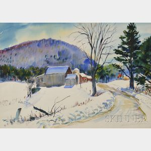Charles Peter Demetropoulos (American, 1912-1976)      Winter Farm in New England