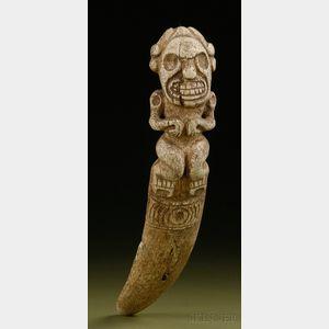 Pre-Columbian Carved Bone Vomit Stick