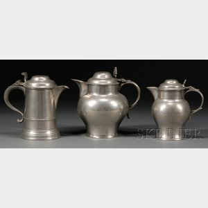 Two Pewter Pitchers and a Flagon
