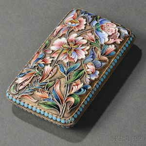 Russian .875 Silver-gilt and Shaded Cloisonné Enamel Case