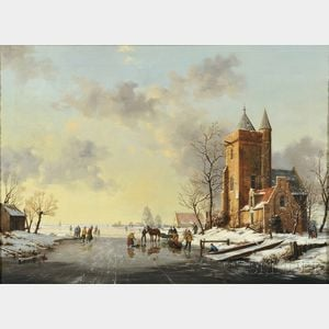 Reginald Ernest Arnold (British, 1853-1938)      Animated Winter View with Skaters