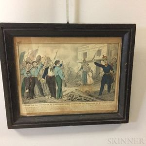 Framed Nathaniel Currier Pace De La Concorde 24 February 1848   Hand-colored Lithograph