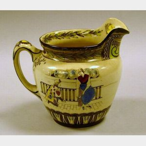 Buffalo Pottery Transfer and Handpainted Cinderella Pattern Ceramic Pitcher