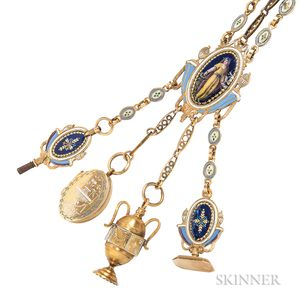 Antique Gold and Enamel Chatelaine