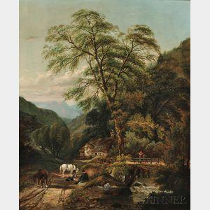 Thomas Pritt (British, fl. 1861-1864)      A Pause by the Stream