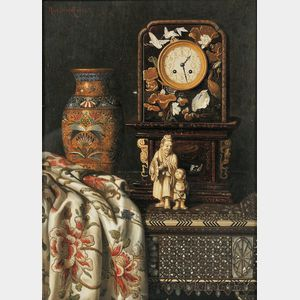 Max Schödl (Austrian, 1834-1921)      Still Life with Clock, Vase, and Ivory Figures
