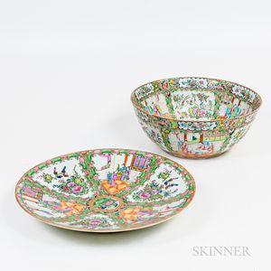 Two Rose Medallion Porcelain Items