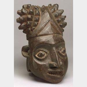 African Carved Wooden Helmet Mask