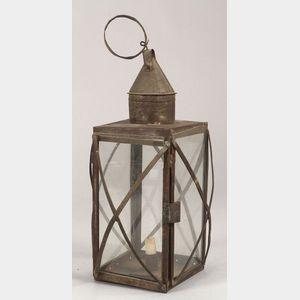 Sheet Iron and Glass Candle Lantern