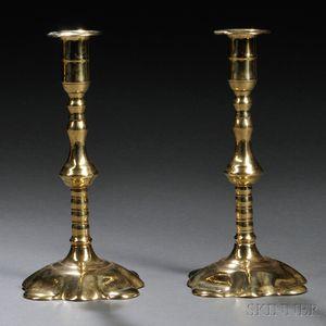 Pair of George II Brass Quatrefoil-base Candlesticks