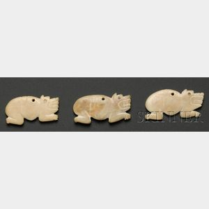 Three Pre-Columbian Carved Bone Jaguar Pendants