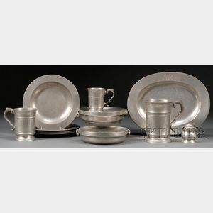 Thirteen Pewter Items