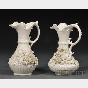 Two Belleek Porcelain Aberdeen Pitchers