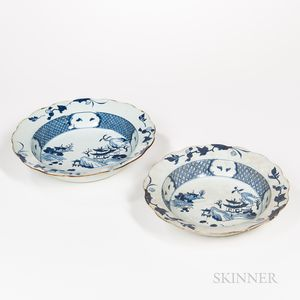 Set of Two Blue and White Export Deep Dishes