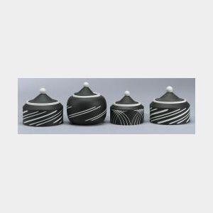 Four Modern Wedgwood Black Jasper Dip Sugar Bowls and Covers