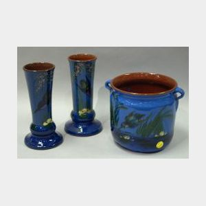 Pair of Longpark Kingfisher Vases and a Lemon & Crute Kingfisher Jardiniere.