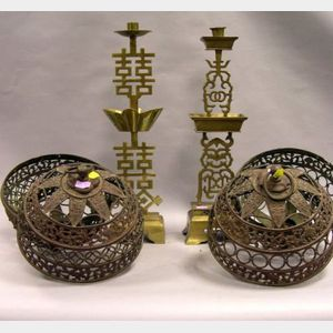 Pair of Chinese Cast Bronze Hanging Lanterns and Two Brass Candlesticks.