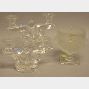 Lalique Frosted Colorless Footed Bowl and a Pair of Steuben Colorless Glass Candelabra.