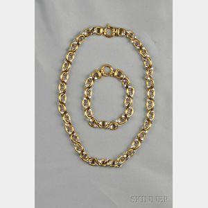 18kt Bicolor Gold Necklace and Bracelet