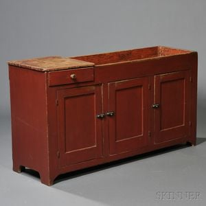Large Red-painted Pine Dry Sink