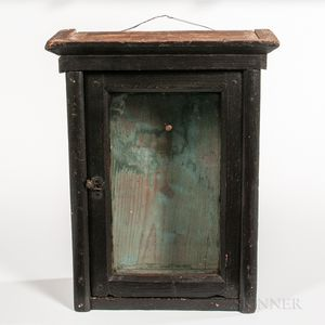 Black-painted Glazed Wall Box