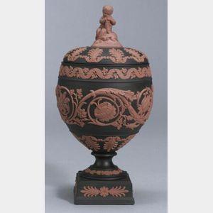 Modern Wedgwood Solid Black Jasper Vase and Cover