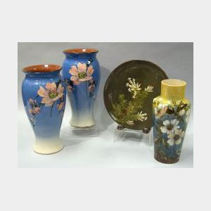 Pair of Watcombe Fruit Blossom Vases, Barbotine Floral Plaque, and an Aller Vale Barbotine Floral Vase.