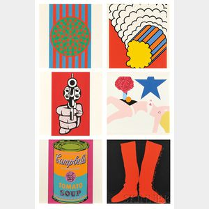 Six Images from Banner Multiples Calendar for 1969: After Various Artists: Jim Dine (American, b. 1935), Two Red Boots on a Black Groun