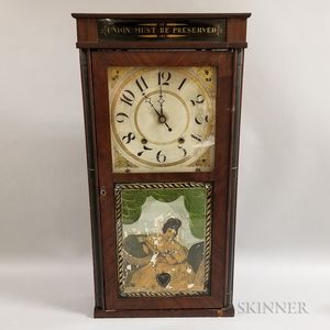 "Silas Hoadley ""Union Must Be Preserved"" Reverse-painted Mahogany Shelf Clock"