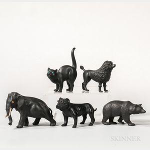 Five Wedgwood Black Basalt Animals