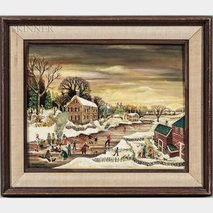 Janet Munro (American, b. 1949)      Village in Winter