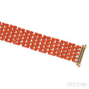 18kt Gold and Coral Strap Bracelet