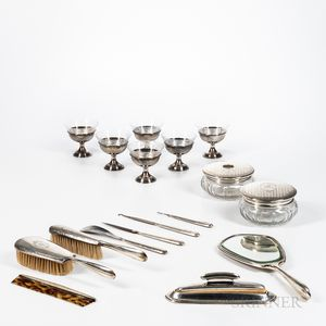 Sterling Silver Vanity Set and a Cased set of Six Sterling Silver Sherbets with Glass Inserts