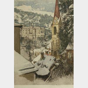 Luigi Kasimir (Austrian, 1881-1962)      Lot of Two Views: Bad Gastein, Kirche (Main Street)