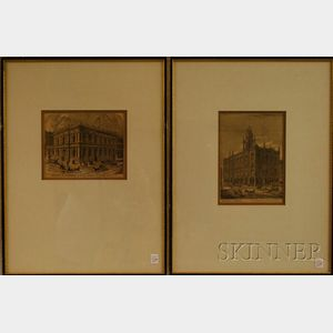 French/American School, 19th/20th Century      Lot of Four Prints: Vue of San Francisco, Vue of Sacramento, Masonic   Temple