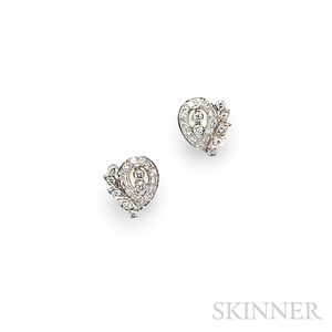 14kt White Gold and Diamond Earrings