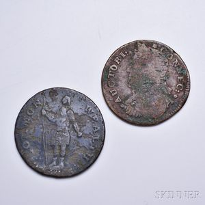 1788 Massachusetts Copper and a 1787 Connecticut Copper