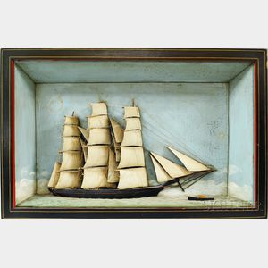 Carved and Painted Diorama of a Sailing Vessel