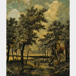 School of Meindert Hobbema (Dutch, 1638-1709)      Landscape with Stream and Hunters with Dogs