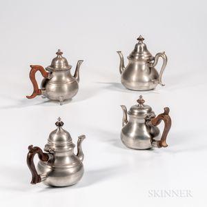 Four 18th Century English Pewter Teapots